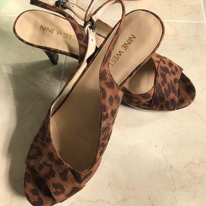 NEW Leopard 🐆 print OpenToe heels 81/2M Nine West